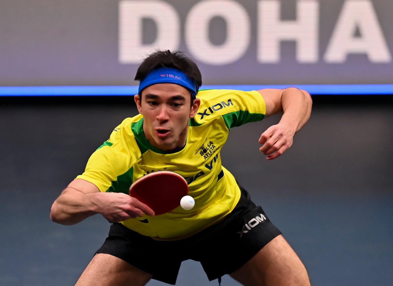 Hugo esteve nas etapas de abertura da temporada do WTT (Crédito: Qatar Table Tennis Association)